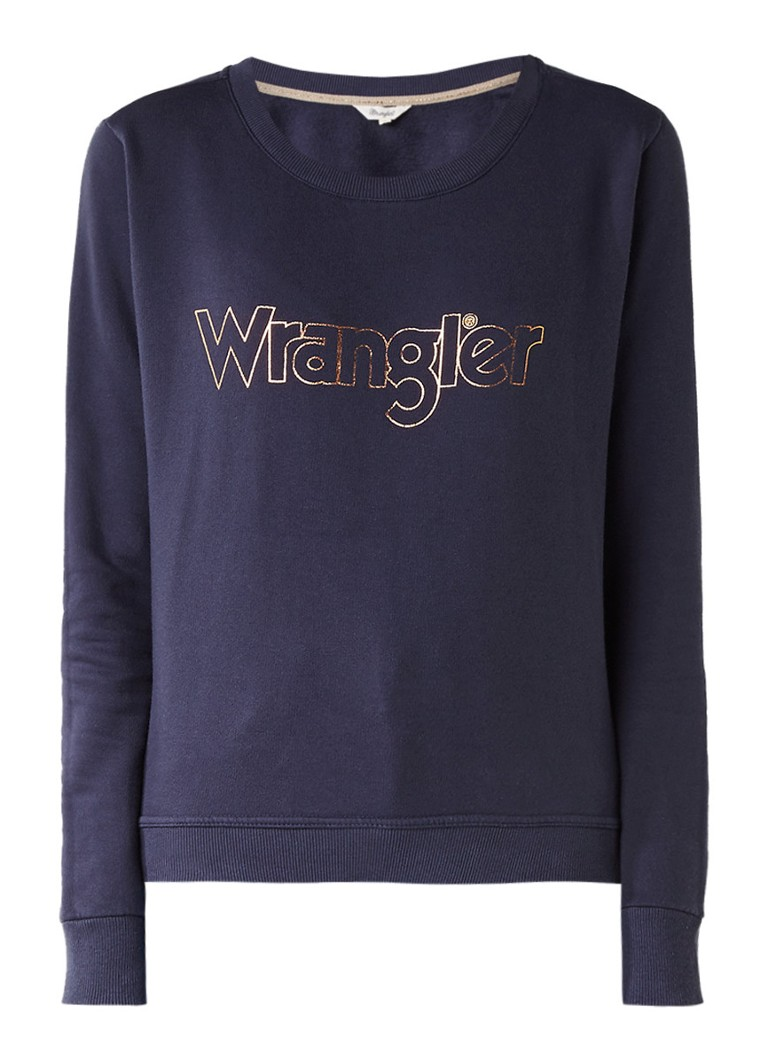 Wrangler Kabel sweater met metallic logoprint