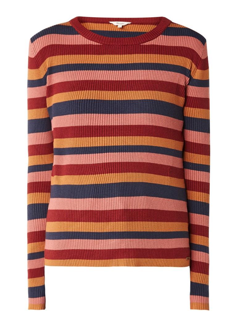 Wrangler Ribgebreide pullover met kleurrijk streepdessin