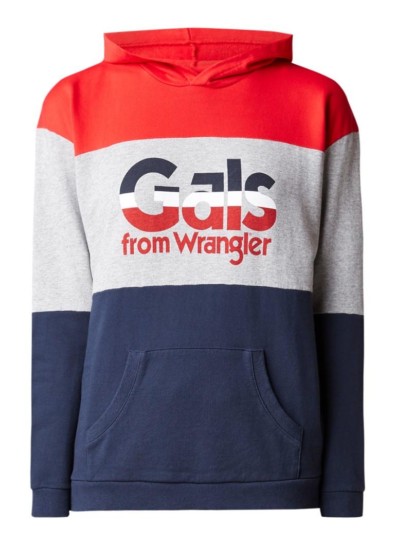 Wrangler Kabel hoodie met colour blocking