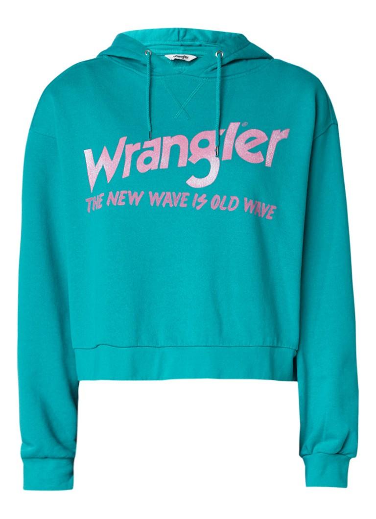 Wrangler Cropped hoodie met retro logoprint