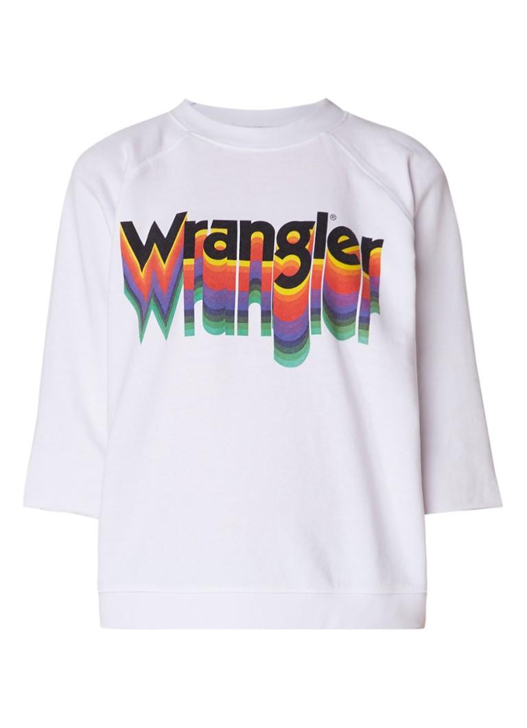 Wrangler Sweater met retro print en afgeknipte mouw