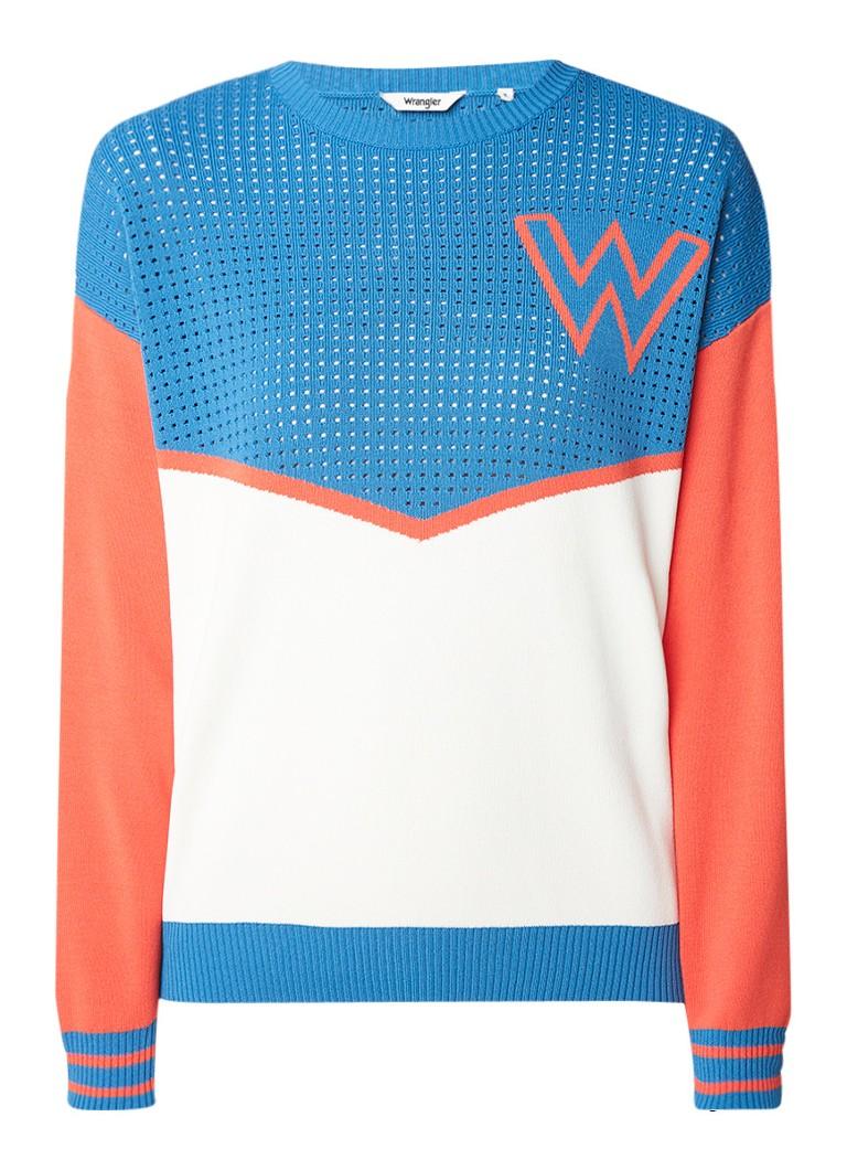 Wrangler Pointelle pullover met colour blocking