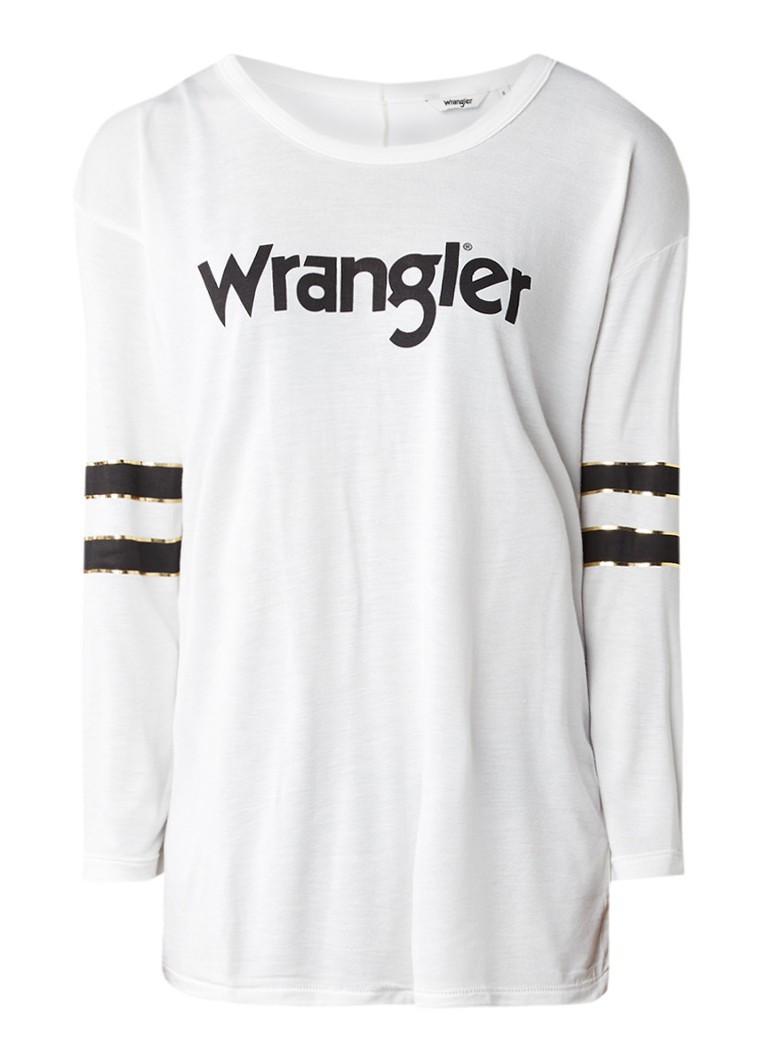 Wrangler Longsleeve met logoprint en streepdetail
