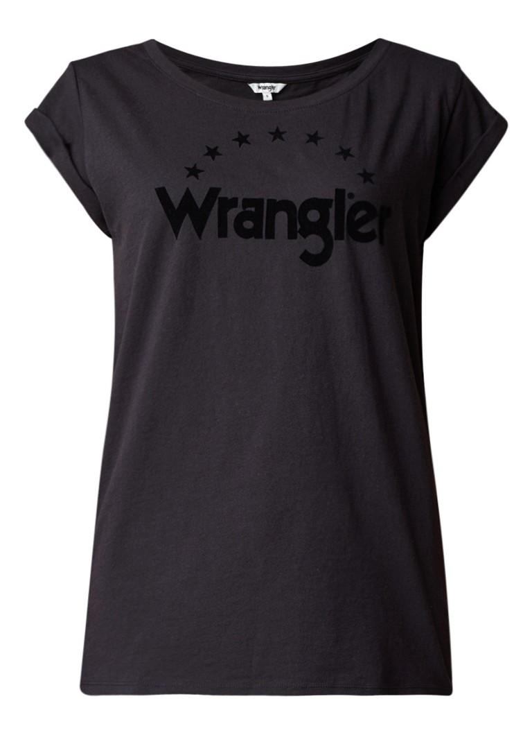 Wrangler T-shirt met logo van flock