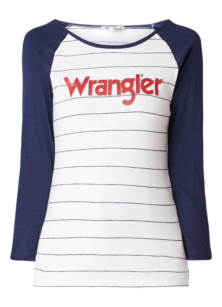 Wrangler Longsleeve met raglanmouw en logoprint
