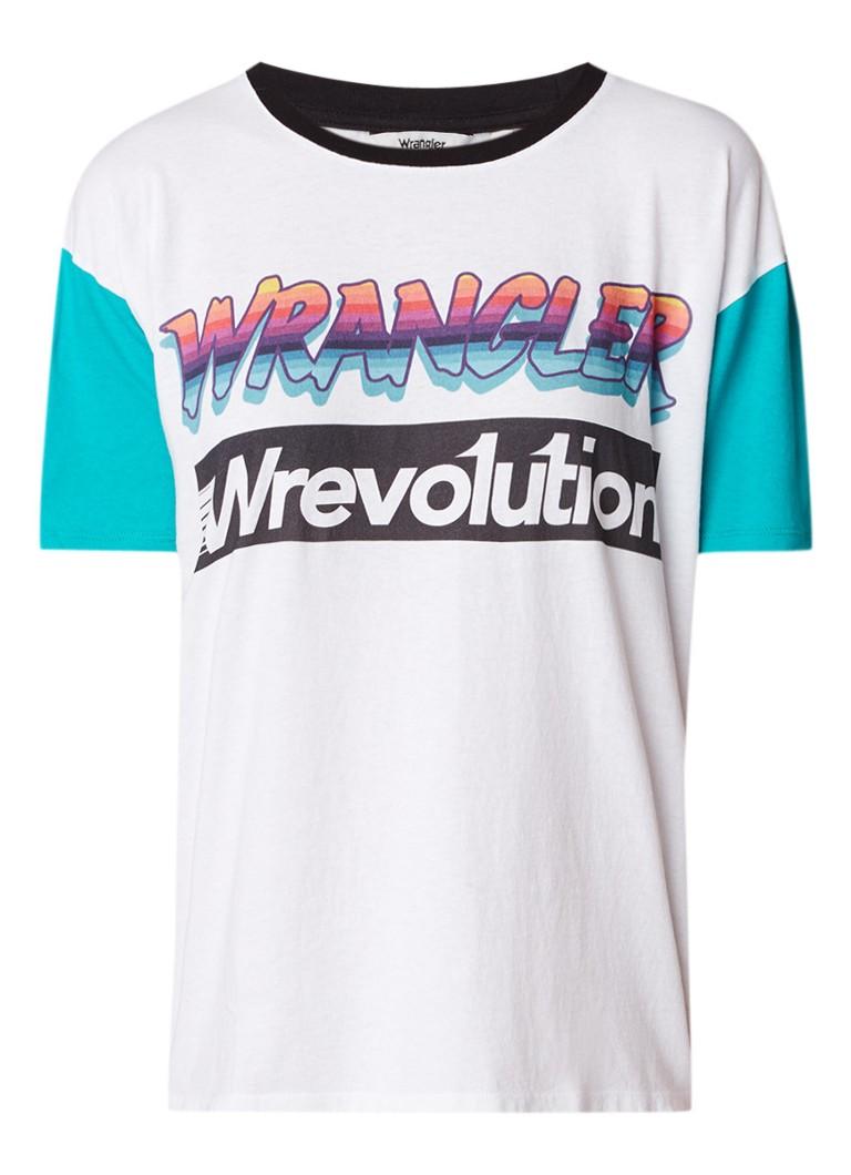 Wrangler T-shirt met logoprint en raglanmouw