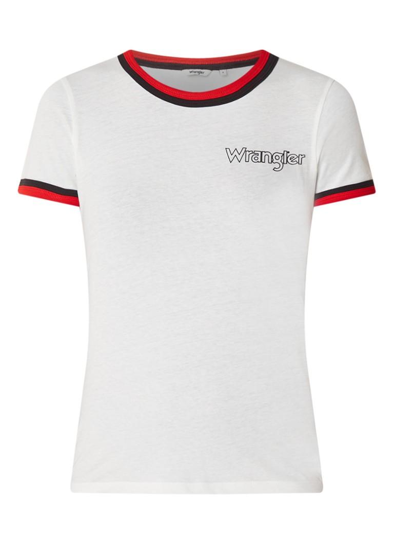 Wrangler T-shirt met logo-opdruk en contrastzoom