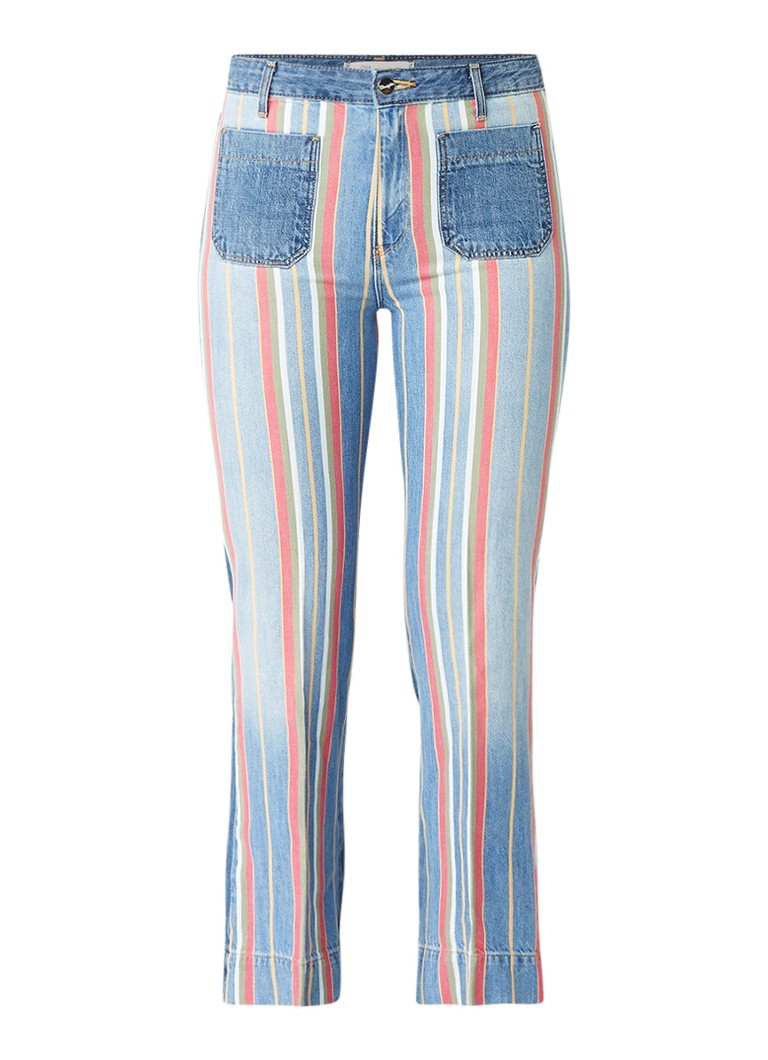 Wrangler Disco cropped flared fit high rise jeans met streepdessin