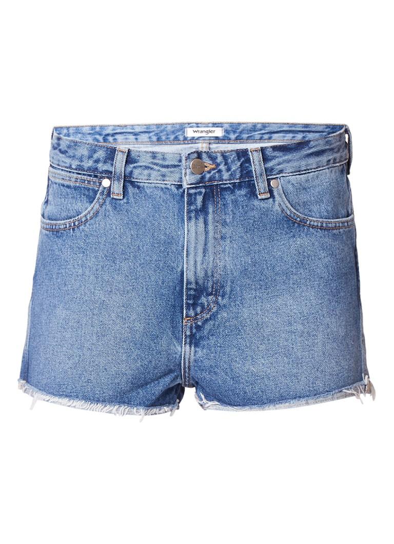 Wrangler High rise straight fit shorts van denim