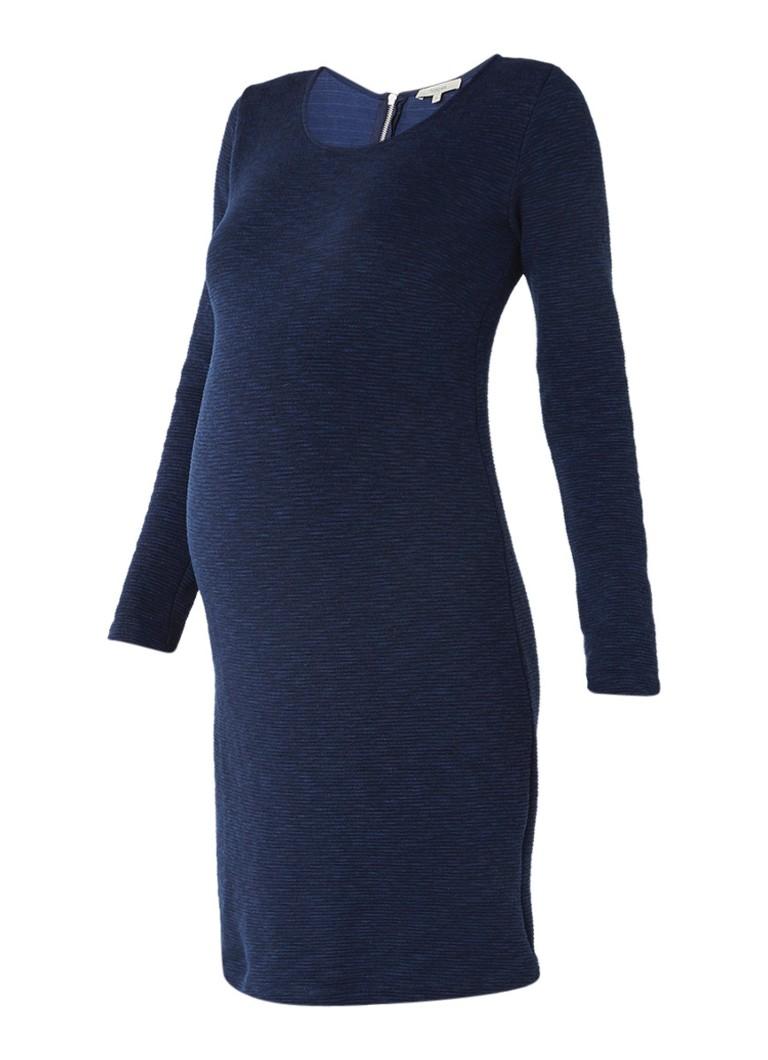 Noppies Inez zwangerschapssweaterjurk met rubstructuur donkerblauw