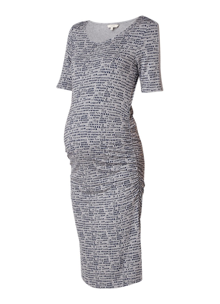 Noppies Carly zwangerschapsjurk van jersey met dessin grijsmele