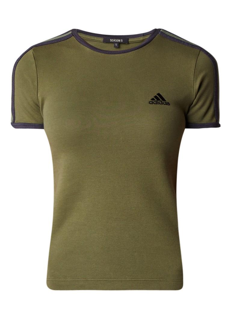 Yeezy T-shirt met logoborduring en contrastbies