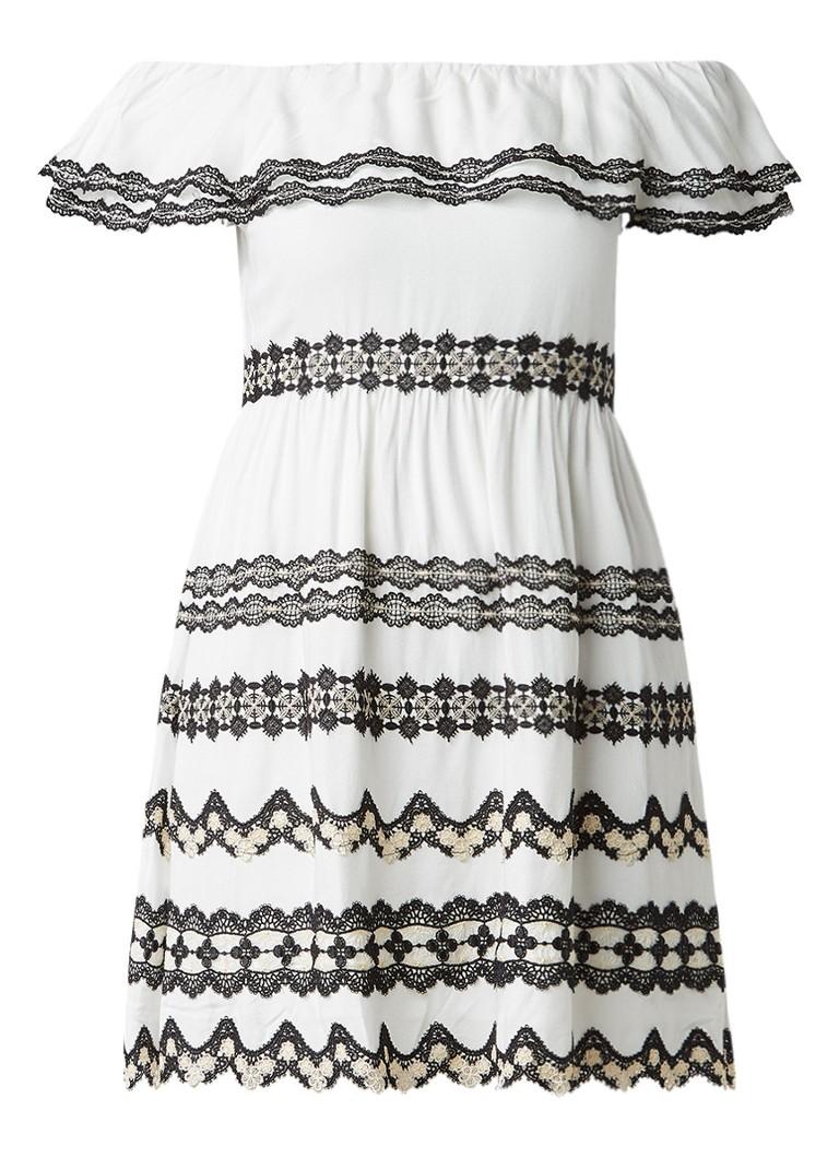 Alice Olivia Rozzi off shoulder jurk met kanten details