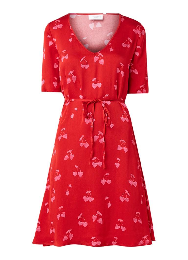 Fabienne Chapot Hannah tuniekjurk van satijn met dessin rood
