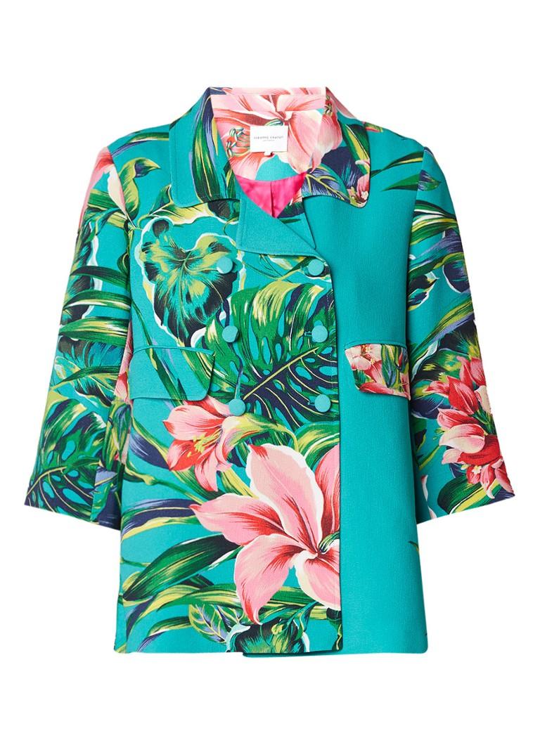 Fabienne Chapot Lazy double breasted blazer met botanische print