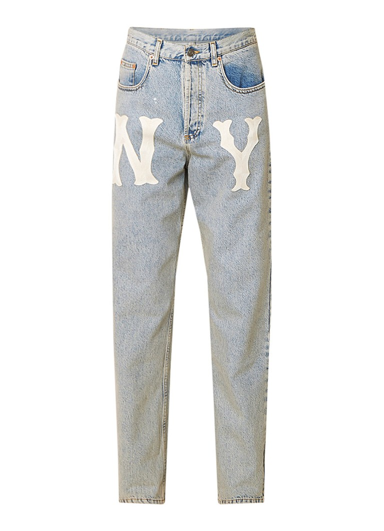 Gucci Straight fit jeans in lichte wassing met patches