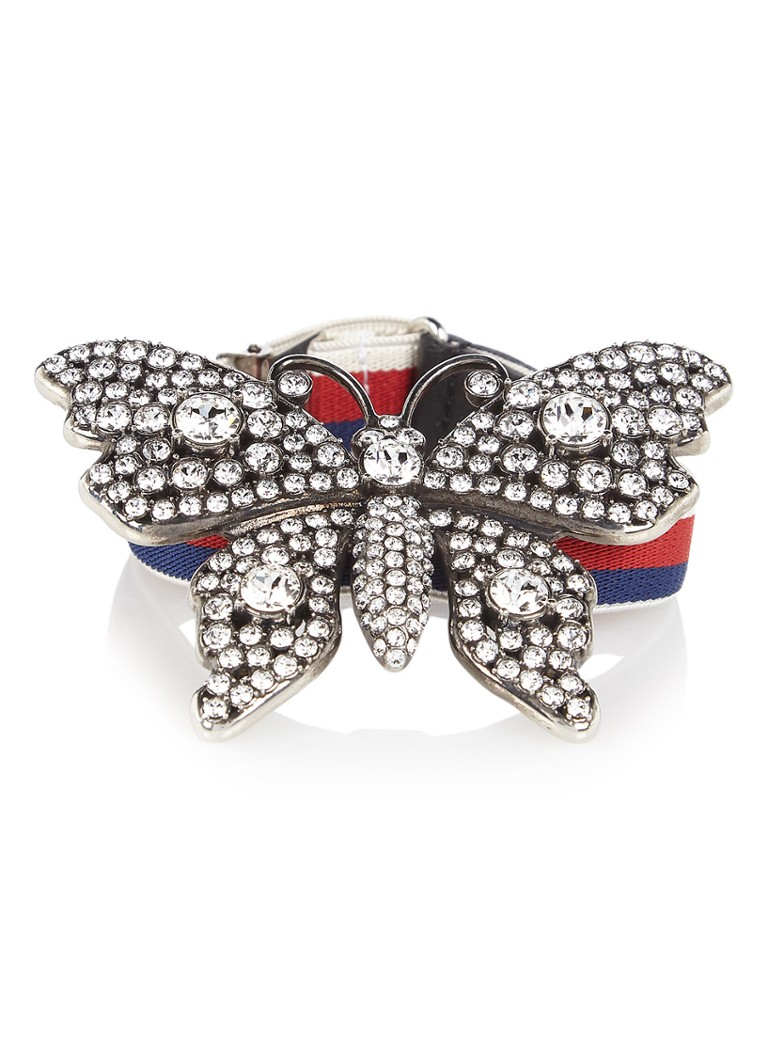 Gucci Crystal Studded Butterfly armband met web dessin
