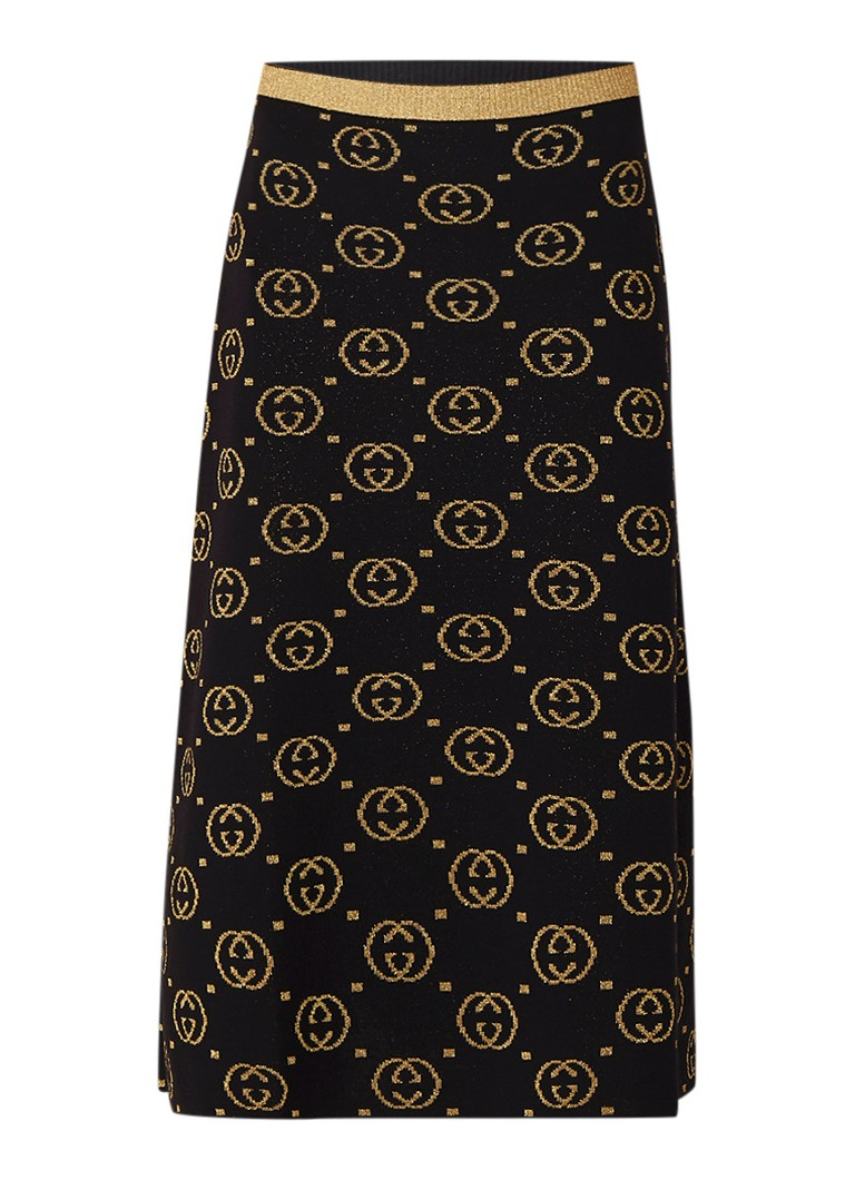 Gucci A-lijn rok met ingebreide logoprint van lurex