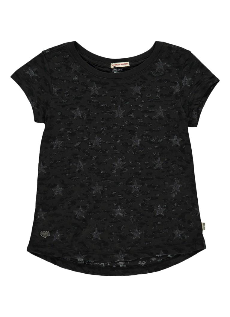 America Today Elyse semi-transparant T-shirt met sterrendess