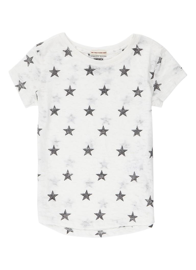 America Today Elyse semi-transparant T-shirt met sterrendessin