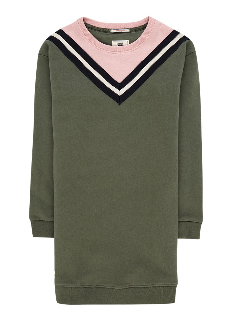 America Today Dakota sweaterjurk met contrastbies en lurex