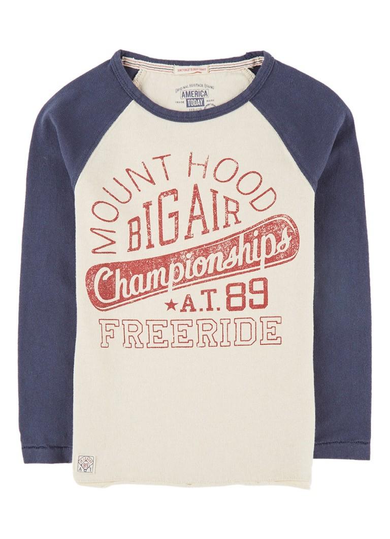 America Today Landon sweater met tekstopdruk en contrasteren