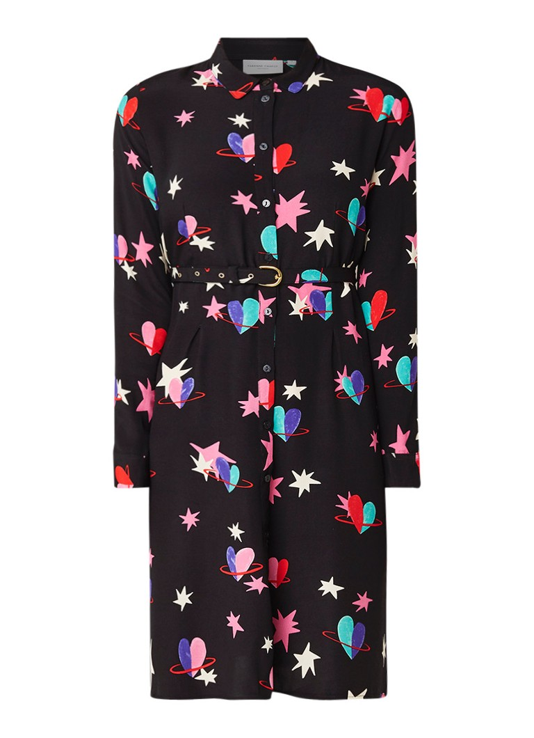 Fabienne Chapot Hayley A-lijn blousejurk met dessin en ceintuur zwart