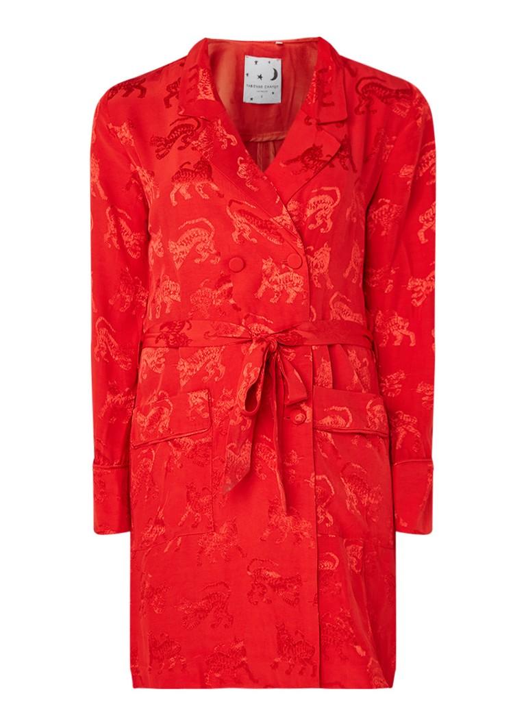 Fabienne Chapot Ami mini-jurk in blazerlook met ingeweven tijgerprint rood