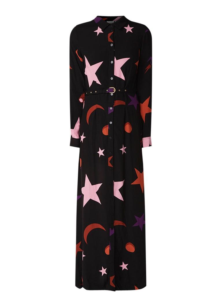 Fabienne Chapot Laura maxi blousejurk met dessin en ceintuur zwart