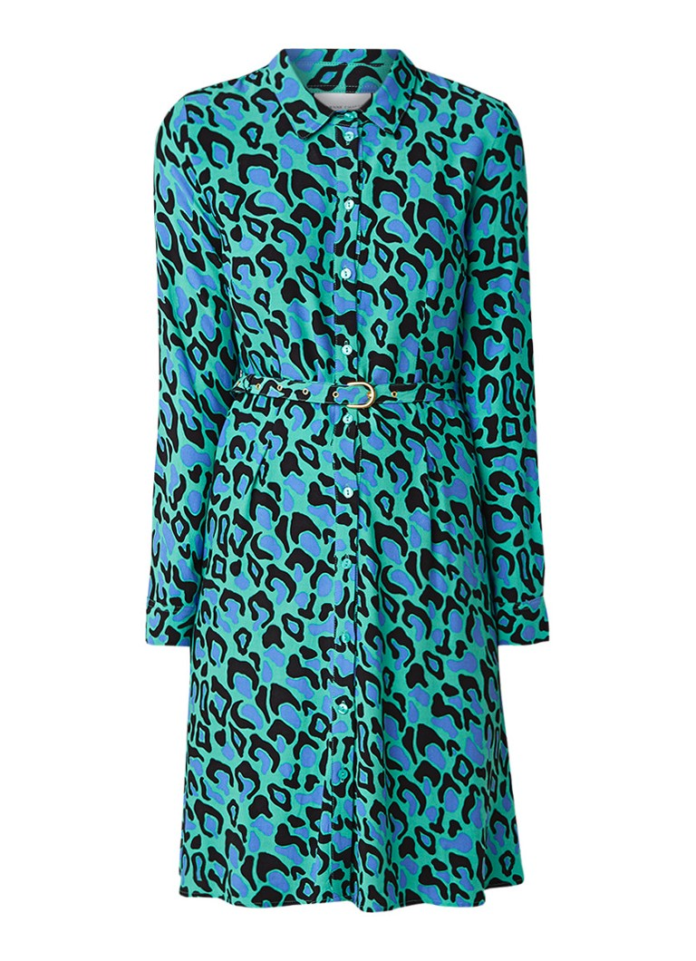 Fabienne Chapot Hayley blousejurk met dessin en ceintuur turquoise