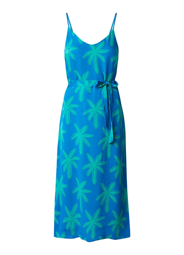 Fabienne Chapot Sunset cami jurk met palmboom dessin aquablauw