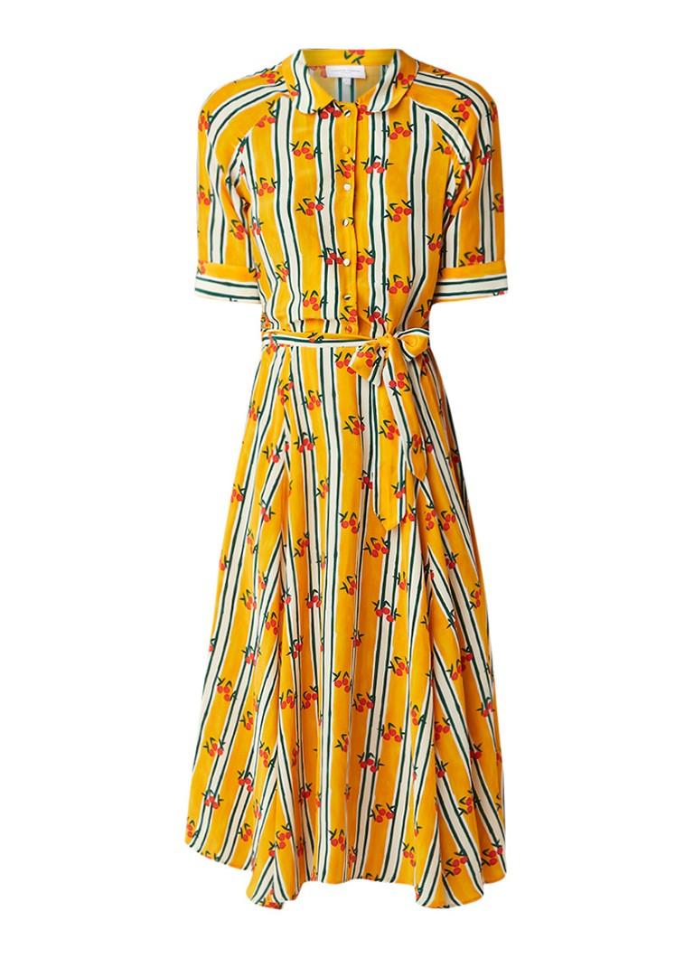 Fabienne Chapot Brizo midi-jurk met dessin en strikceintuur okergeel