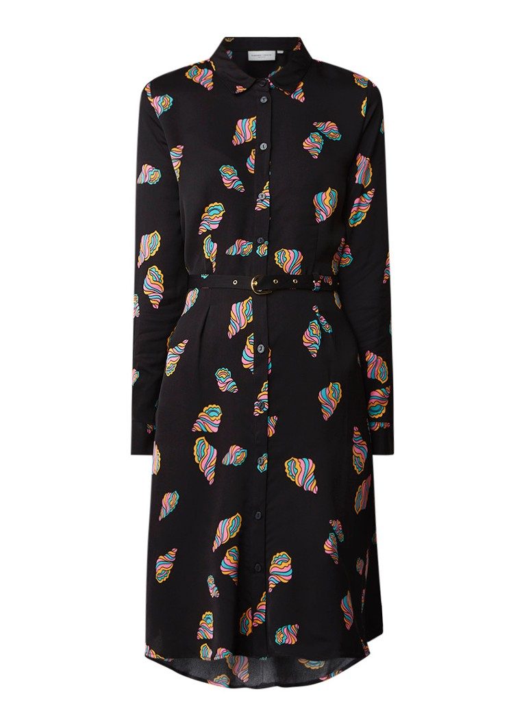 Fabienne Chapot Hayley blousejurk met schelpendessin en ceintuur zwart