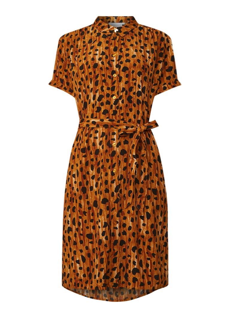 Fabienne Chapot Blousejurk met luipaarddessin en strikceintuur oranjebruin