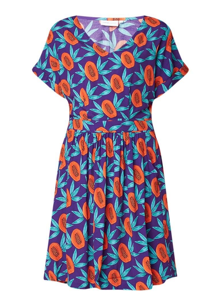 Fabienne Chapot Daisy A-lijn jurk met dessin paars