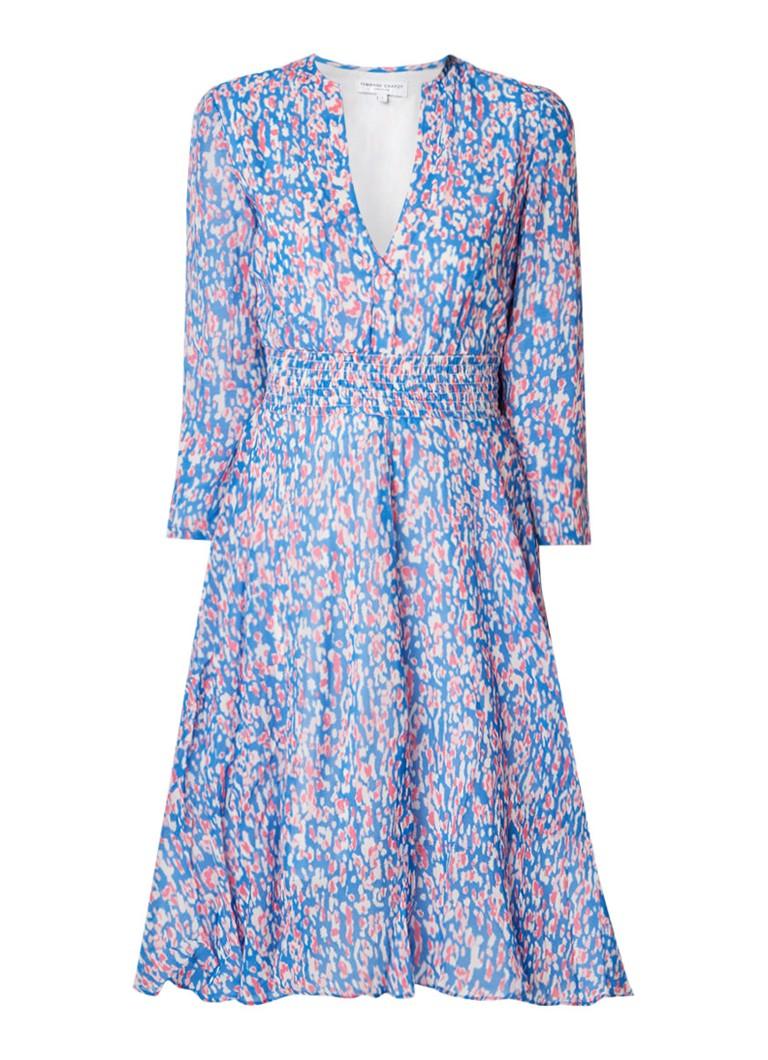 Fabienne Chapot Shirley A-lijn jurk met abstract dessin middenblauw