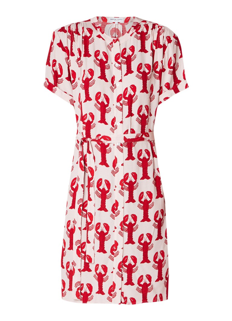 Fabienne Chapot Maggie blousejurk met strikceintuur en kreeftendessin rood