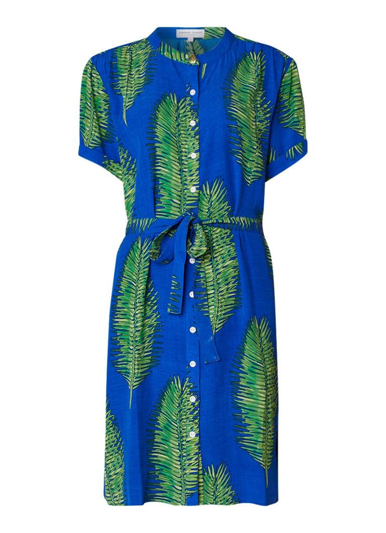 Fabienne Chapot Maggie blousejurk met strikceintuur en bladdessin blauw