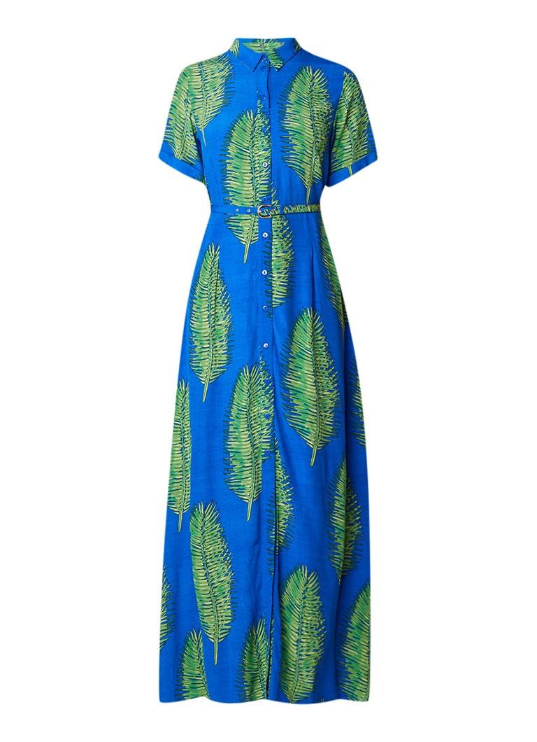 Fabienne Chapot Mia maxi-jurk met bladdessin royalblauw