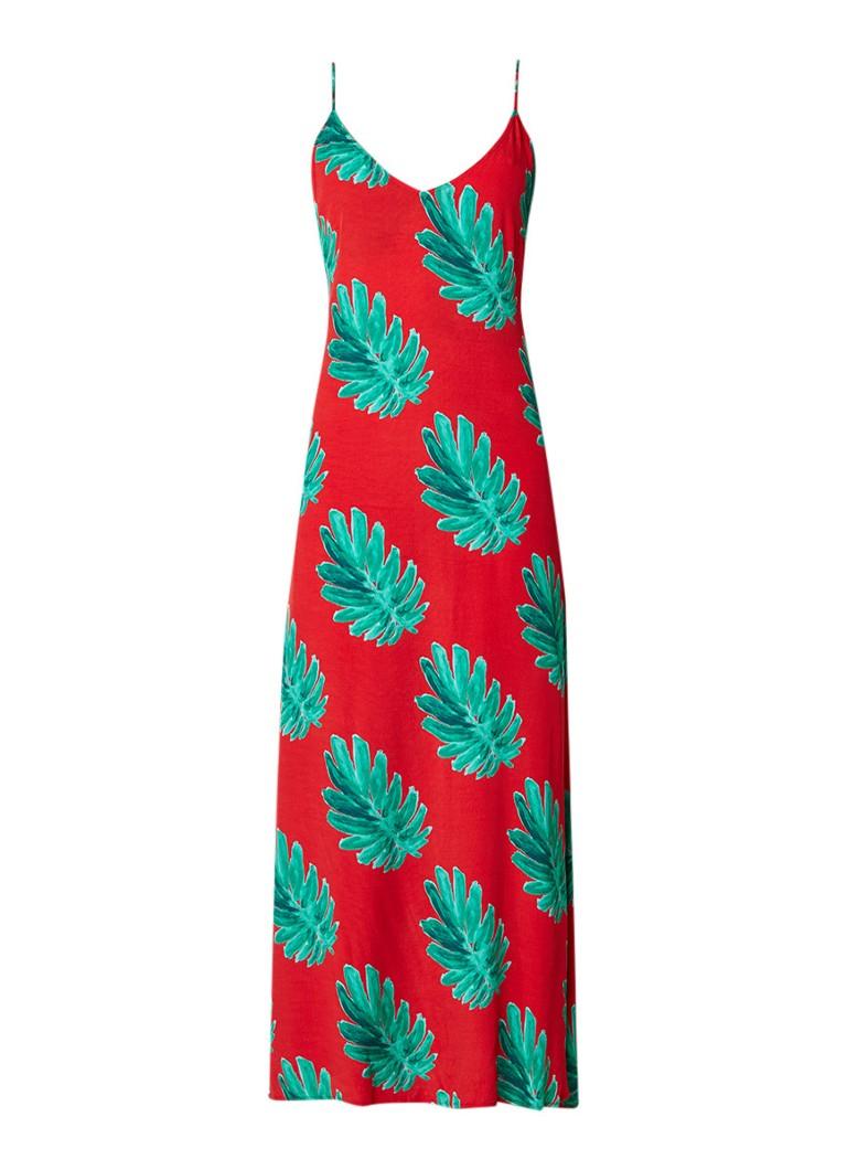 Fabienne Chapot Olivia maxi-jurk met bladdessin rood