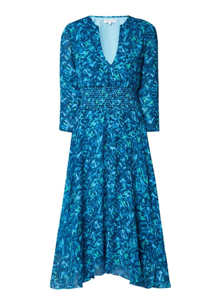 Fabienne Chapot Shirley midi-jurk met gesmockte taille blauw