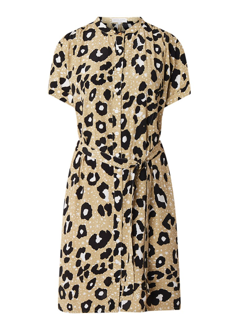 Fabienne Chapot Maggie blousejurk met luipaarddessin khaki