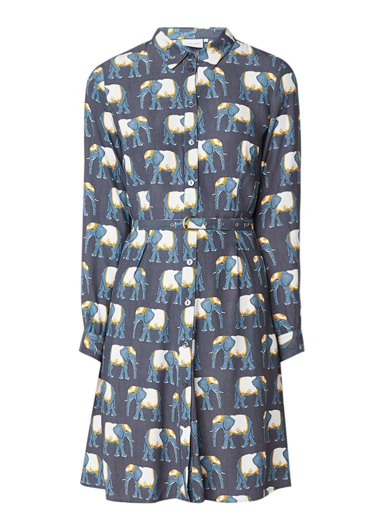 Fabienne Chapot Hayley blousejurk met olifantenprint blauwgrijs