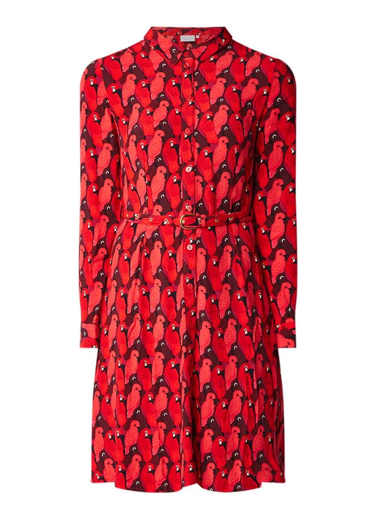 Fabienne Chapot Haley blousejurk met papegaai print en ceintuur rood