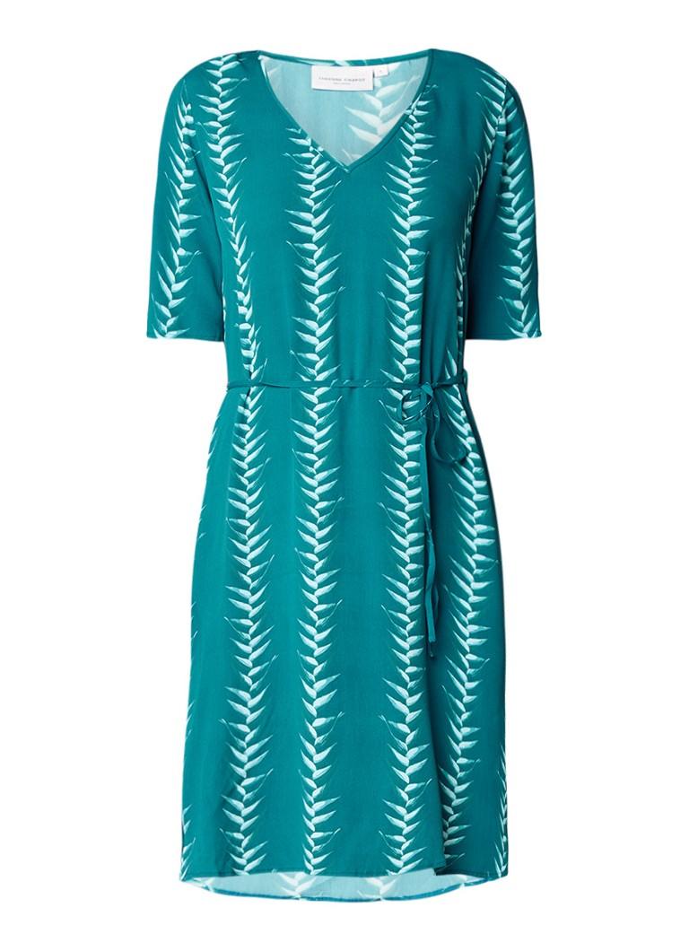 Fabienne Chapot Cecile A-lijn jurk met bladprint donkergroen