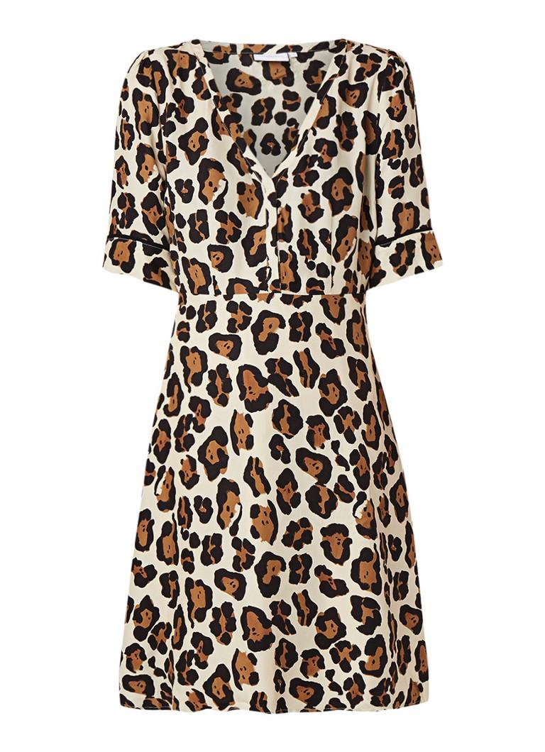 Fabienne Chapot Tea A-lijn jurk met luipaarddessin creme