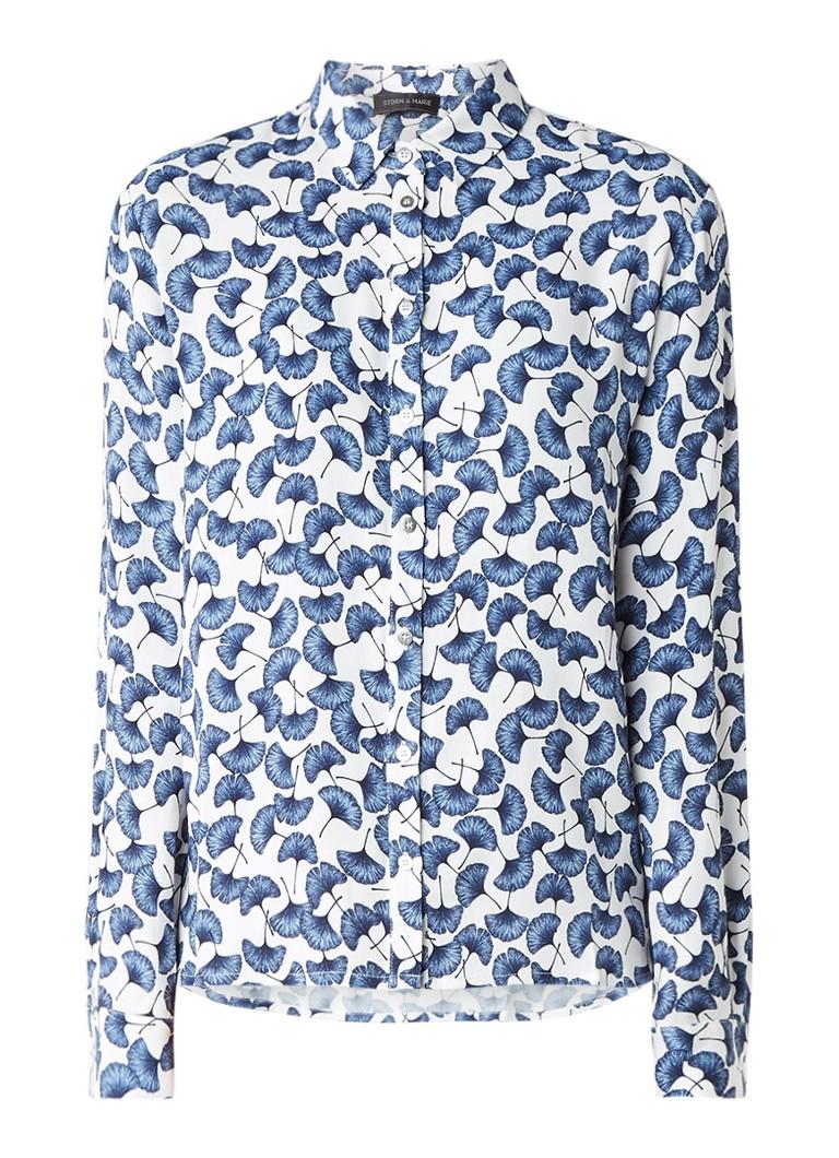 Storm & Marie Holly blouse met gebloemd dessin blauw