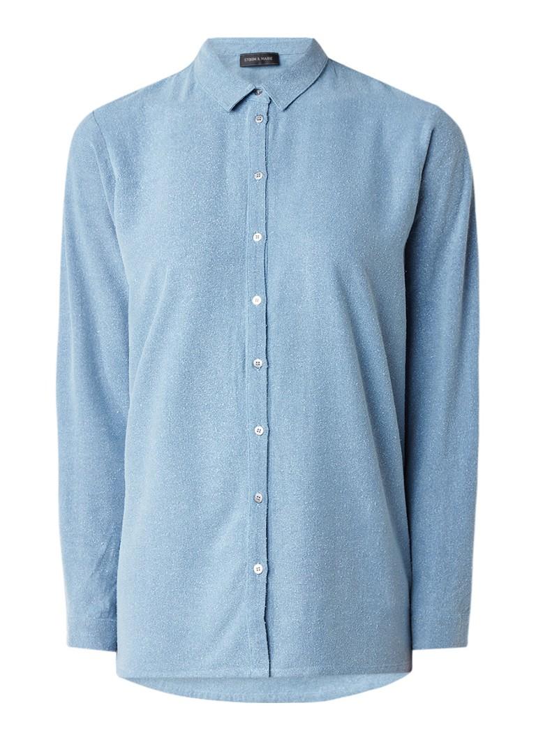 Storm & Marie Miguel blouse van geruwd zijde blauw
