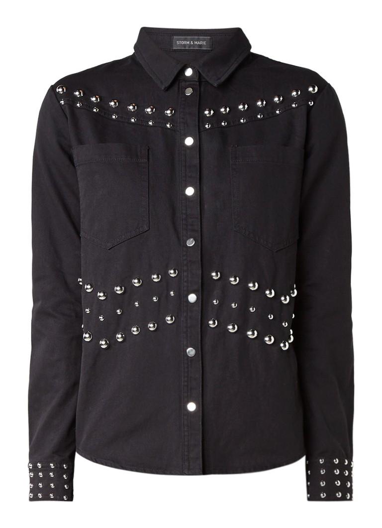 Storm & Marie Rock denim blouse met studs en drukknoopsluiting blauw