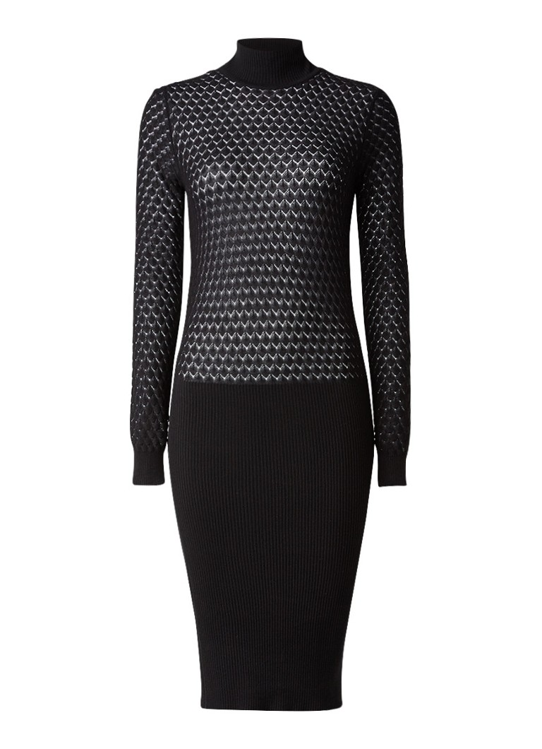 Storm & Marie Fijngebreide trui-jurk met opengewerkt dessin zwart